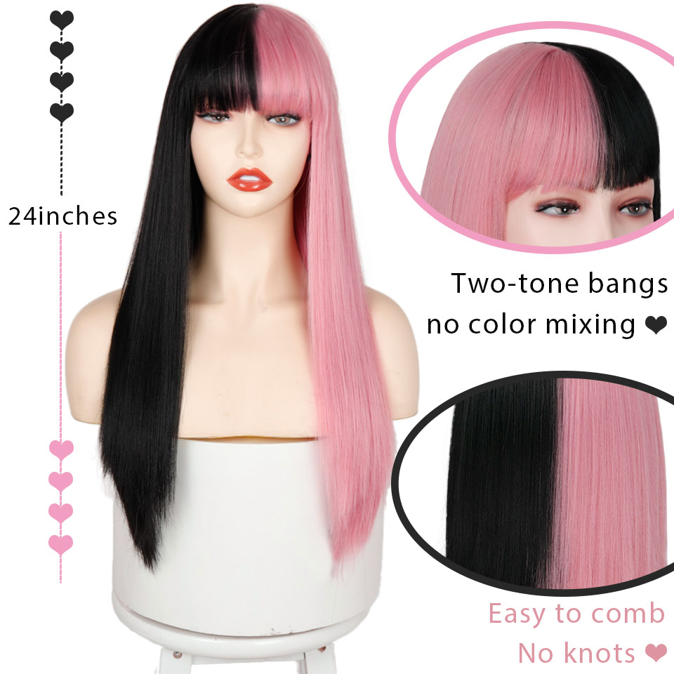 Pink and Black Wig Long Straight hair Cosplay Wig Two Tone Ombre Color Women Synthetic Hair Wigs 2