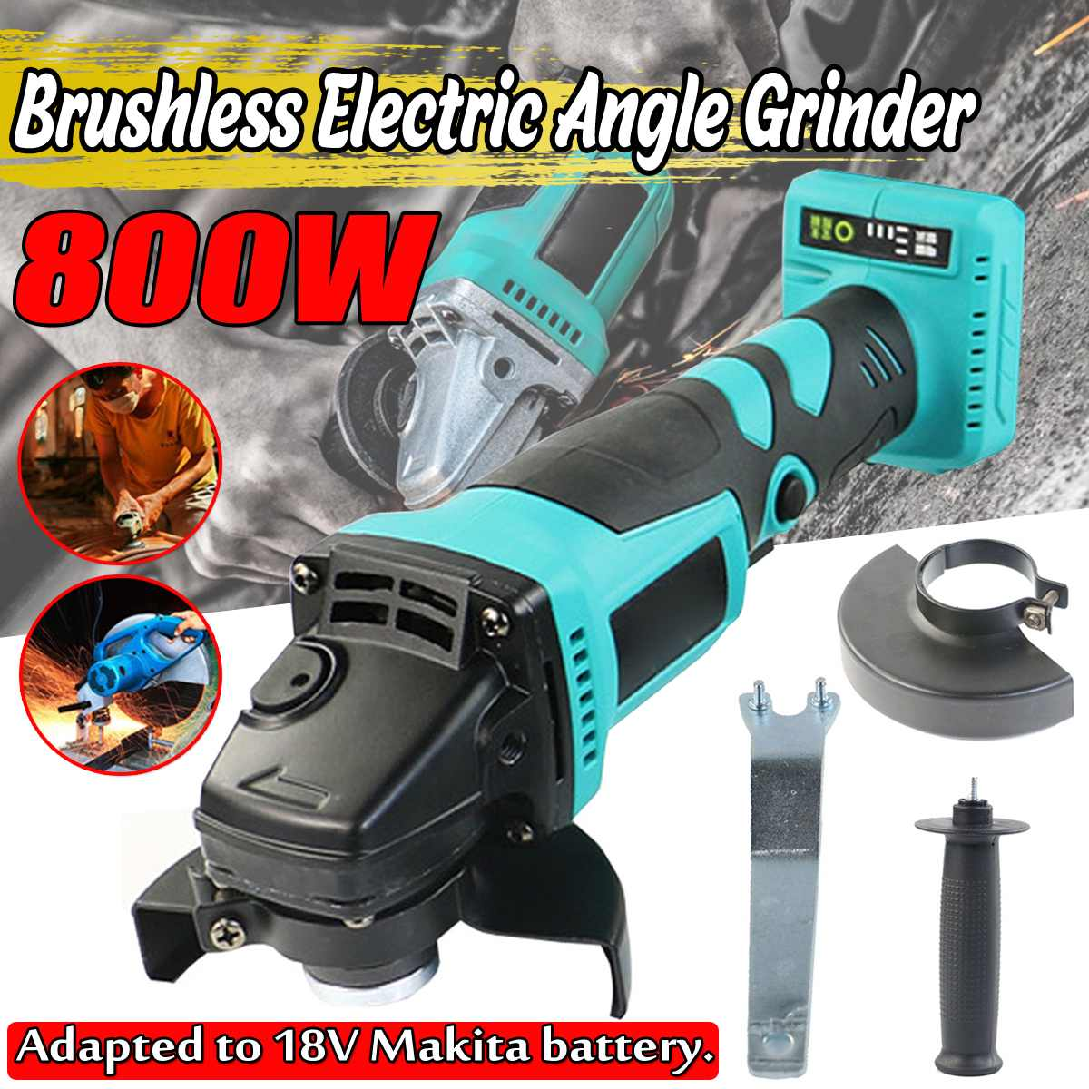 Brushless Electric Angle Grinder Rechargable Cordless 100mm Grinding Machine Cutting Woodworking Tool For Makita Battery 18V