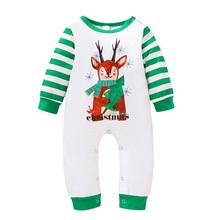 Baby Girl Casual Christmas Deer Print Romper Infant Long Sleeve Children Rompers Jumpsuit Outfits #p long sleeves deer print christmas tee