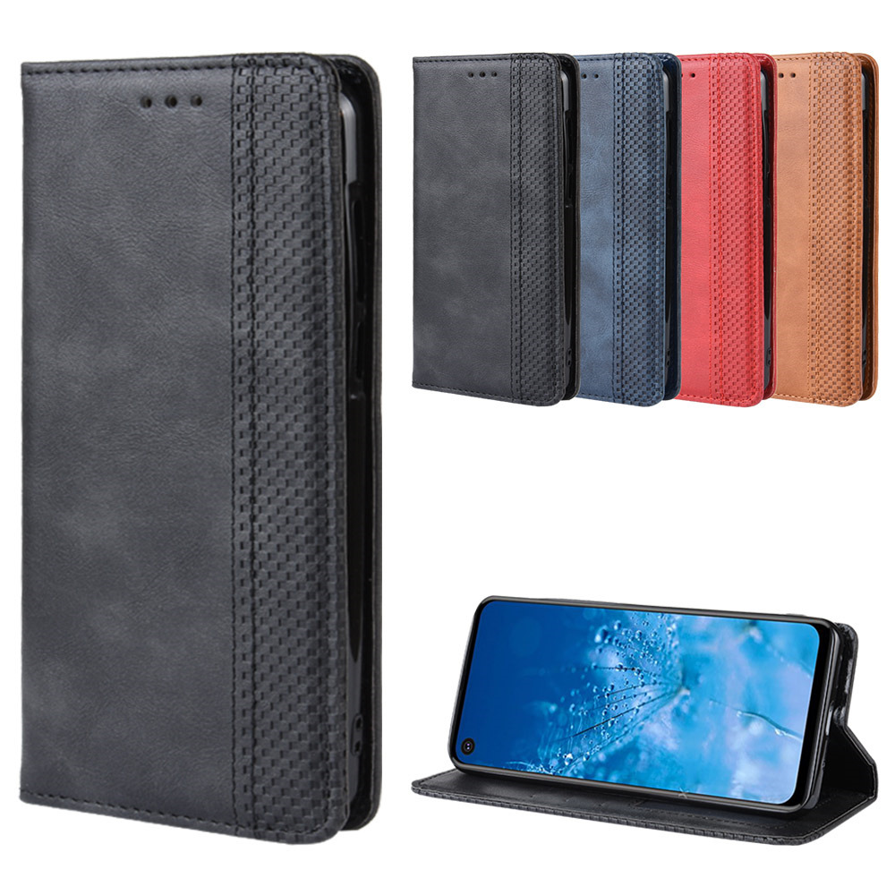 luxury lattice Phone <font><b>case</b></font> For <font><b>Motorola</b></font> one action one pro One <font><b>Vision</b></font> funda Grid Emboss Leather flip Etui Wallet Book Cover coque image