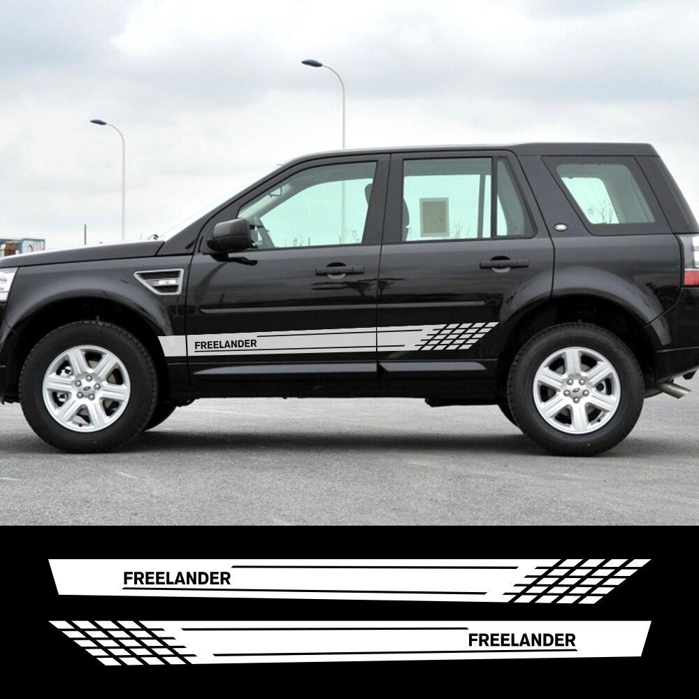 2 uds coche puerta lado falda rayas película de vinilo pegatinas para Land Rover Freelander Auto decoración reflectante pegatinas accesorios para coche