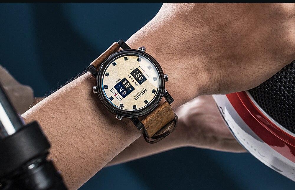 De Couro Marrom Relógios Homem Relógio de Pulso de Quartzo 2137