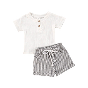 New Infant Baby Summer 2 Piece Set, Solid Color Short-Sleeved Top + Striped Printed Shorts
