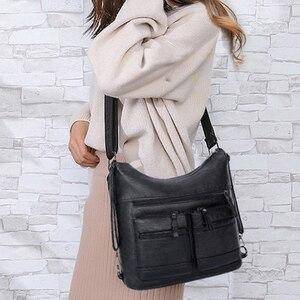 Image 2 - Kadın yıkanmış PU deri seyahat sırt çantası kadın sırt çantası okul omuz el çantaları kadınlar için 2020 sırt çantası Mochilas ana kesesi