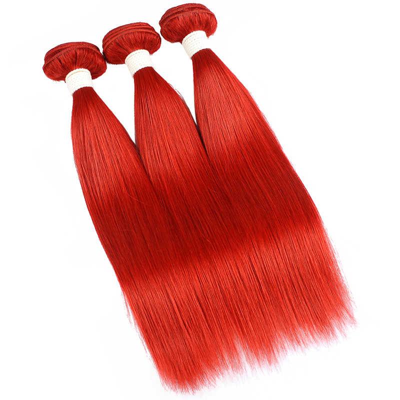 Rot 99J Burgund Gerade Haar Bundles 1/3 Pcs Brasilianische Haarwebart Bündel Rote Menschliches Haar Weave Extensions Pinshair Remy Haar