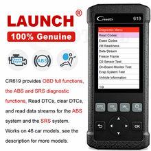 LAUNCH Airbag SRS Scanner CR619 OBD2 Engine Code Reader OBD 2 Auto Scanner ABS D