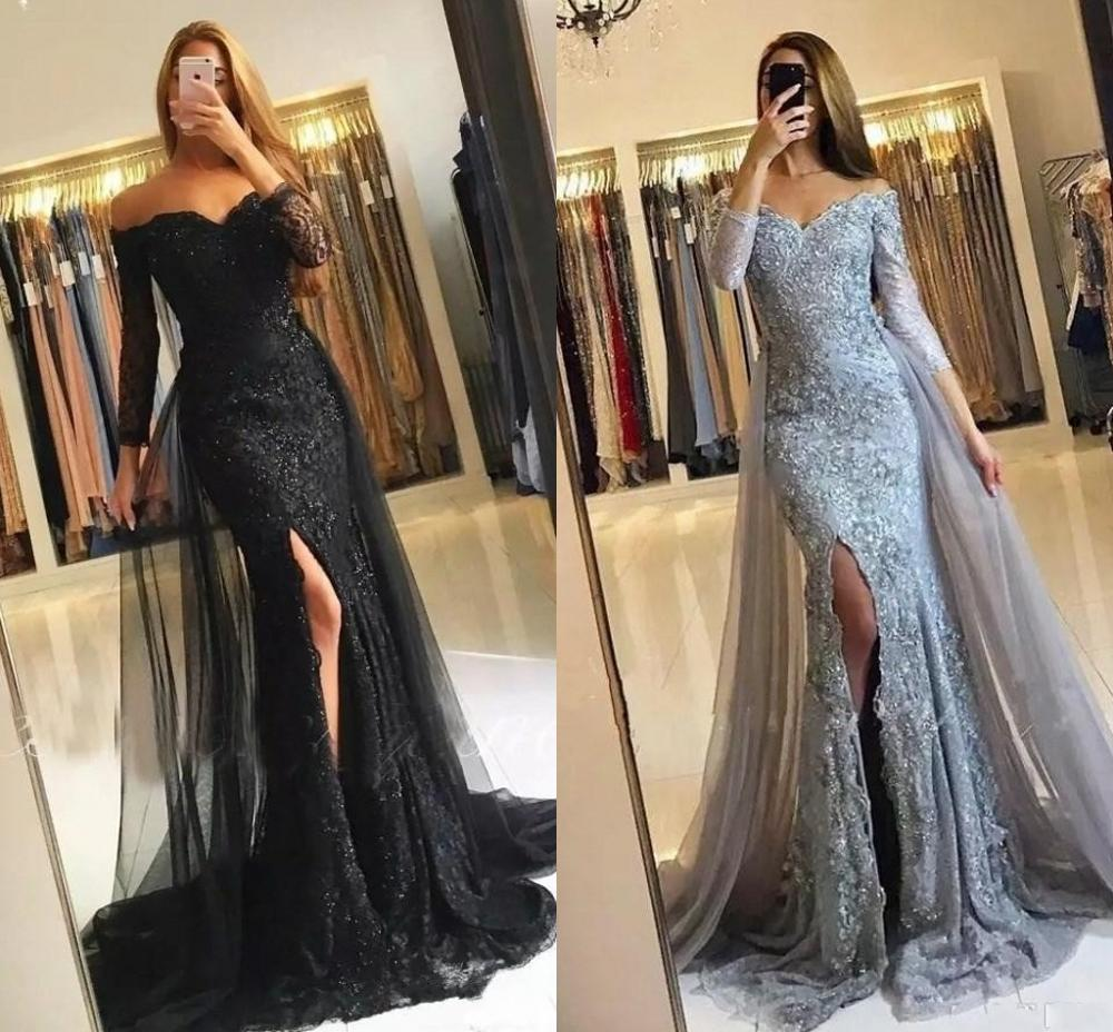 New Black/Silver Muslim Evening Dresses 2020 Mermaid  Lace Appliques Slit Tulle Dubai Kaftan Saudi Arabic Long Prom Party Gowns