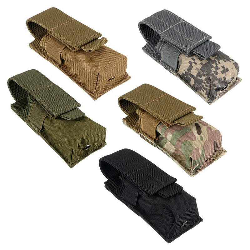 Tactical M5 Flashlight Pouch Molle Single Pistol Magazine Pouch Military Torch Case Hunting Airsoft EDC Tool Knife Light Holster
