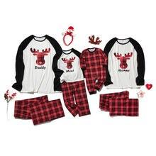 Новинка 2020 года; Семейные пижамы с рождественским оленем;