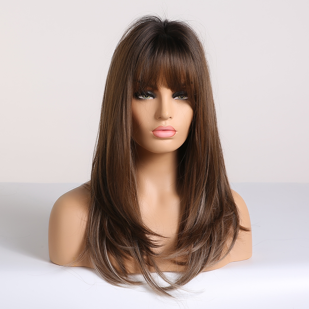 Image 2 - EASIHAIR Long Straight Brown Ombre Wigs with Bangs Synthetic Wigs for Women Daily Natural Cosplay Wigs Heat ResistantSynthetic None-Lace  Wigs   -