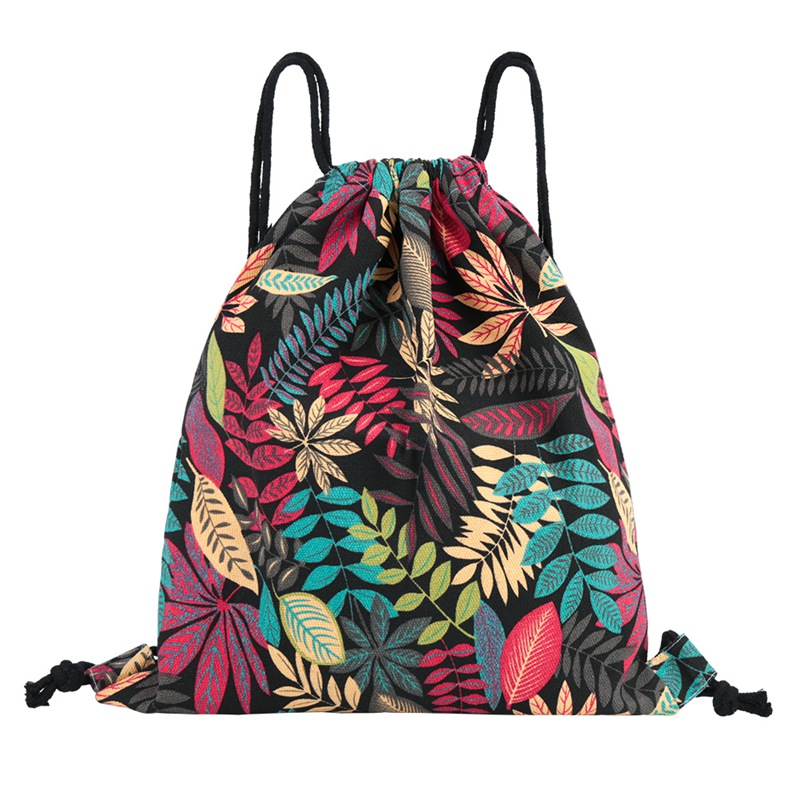 1 PC Printed Drawstring Bag Canvas String Backpack Outdoor Travel Portable Shoulder Bag Clothes Storage Pouch Bag Dropship New