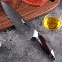 HAOYE cuchillo de chef Damasco japonés 67 capas vg10 cuchillos de cocina de acero profesional hoja ancha mango de sándalo de lujo Gyuto nuevo
