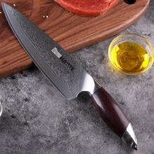 Haoye Damascus Chefs Mes Japanse Vg10 Staal Keukenmessen Professionele Wide Sharp Blade Sandelhout Handvat Luxe Sushi Gyuto