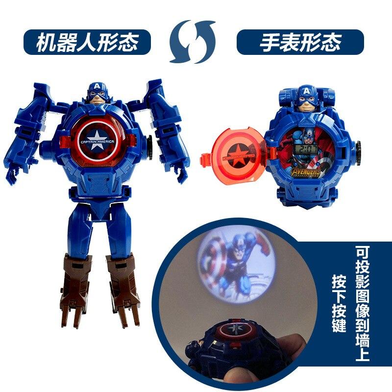 Marvel iron Man Spiderman Cartoons Children's watch Deformation robot 3d LED projection watch Children's model toy watch
