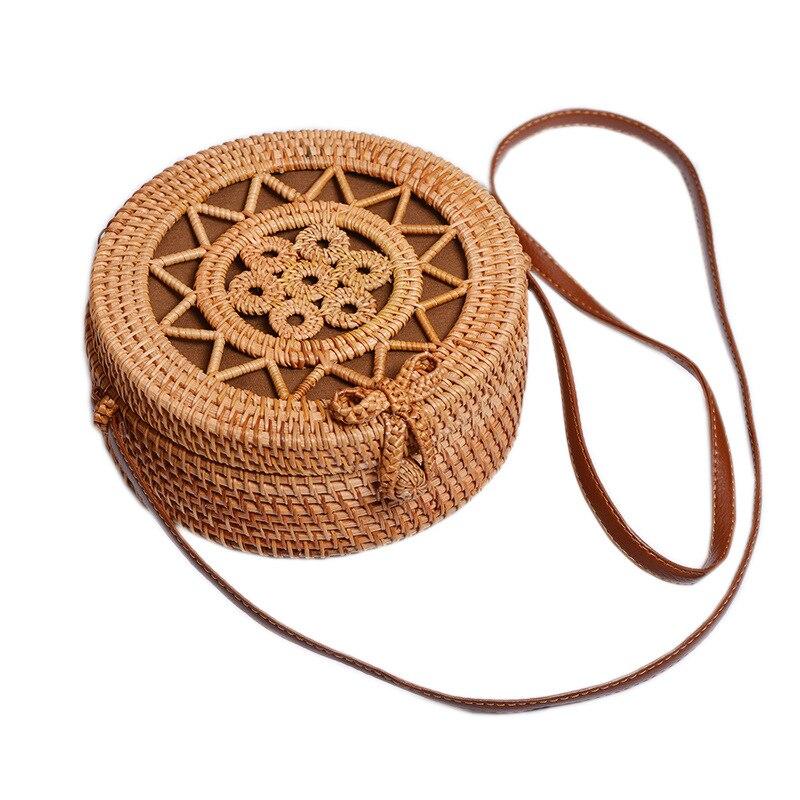 ¡Oferta! cesta de mimbre, cesta de mimbre, cesta tejida a mano de arte antiguo, siete pequeñas bolsas redondas de estrella de cinco puntas