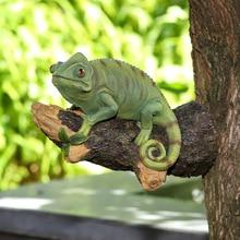 Resin Chameleon Statue Wall Mounted Lizard DIY Outdoor Garden Tree Decoration Sculpture For Home Office Garden Decor Ornament
