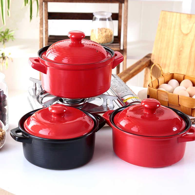 高温性セラミック鍋赤色健康ギフトセラミック鍋スープ鍋 2L 3L