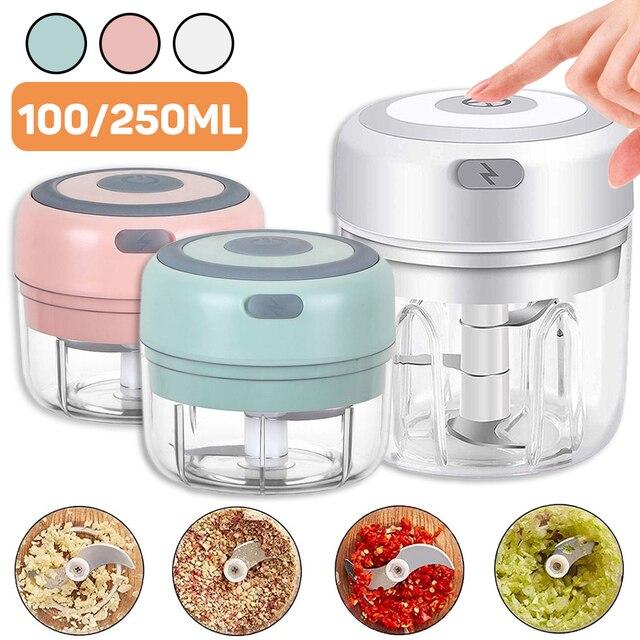 Mini hachoir à ail électrique 100/250mL, rechargeable par USB, broyeur de gingembre, robuste et Durable, outil de cuisine 1