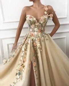 Женское вечернее платье цвета шампанского, длинное платье на одно плечо с высоким разрезом и вырезом сердечком, платье для выпускного вечера, 2020|Вечерние платья|   | АлиЭкспресс