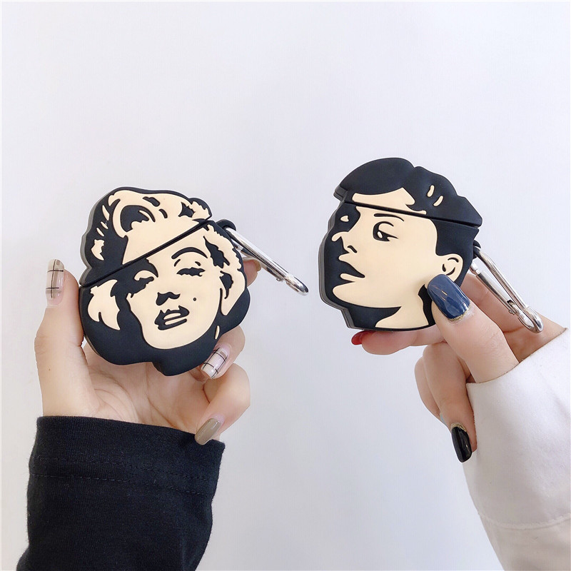 Luxury Marilyn Monroe Case For Apple Airpods Cover Cute Silicone Bluetooth Earphone Case For Airpod 2/1 Capa Headphone Case Box