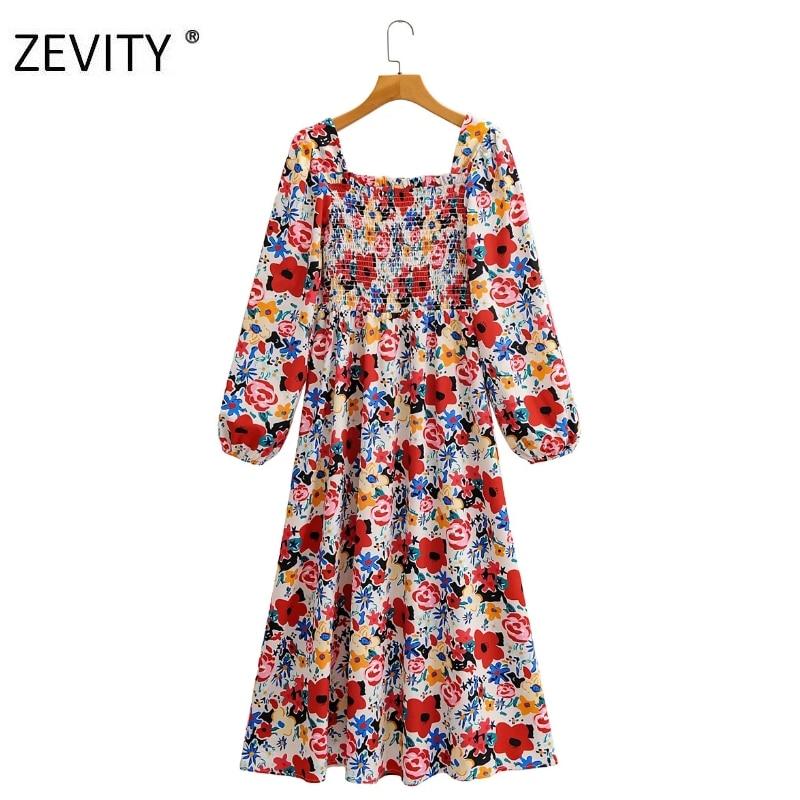Zevity Women vintage square collar lantern sleeve print casual brand dress female elastic bust vestido chic party Dresses DS4207