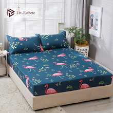 Liv-Esthete Fashion Flamingo Polyester Fitted Sheet With Pillowcase Soft Mattress Cover Bed Linen On Elastic Band