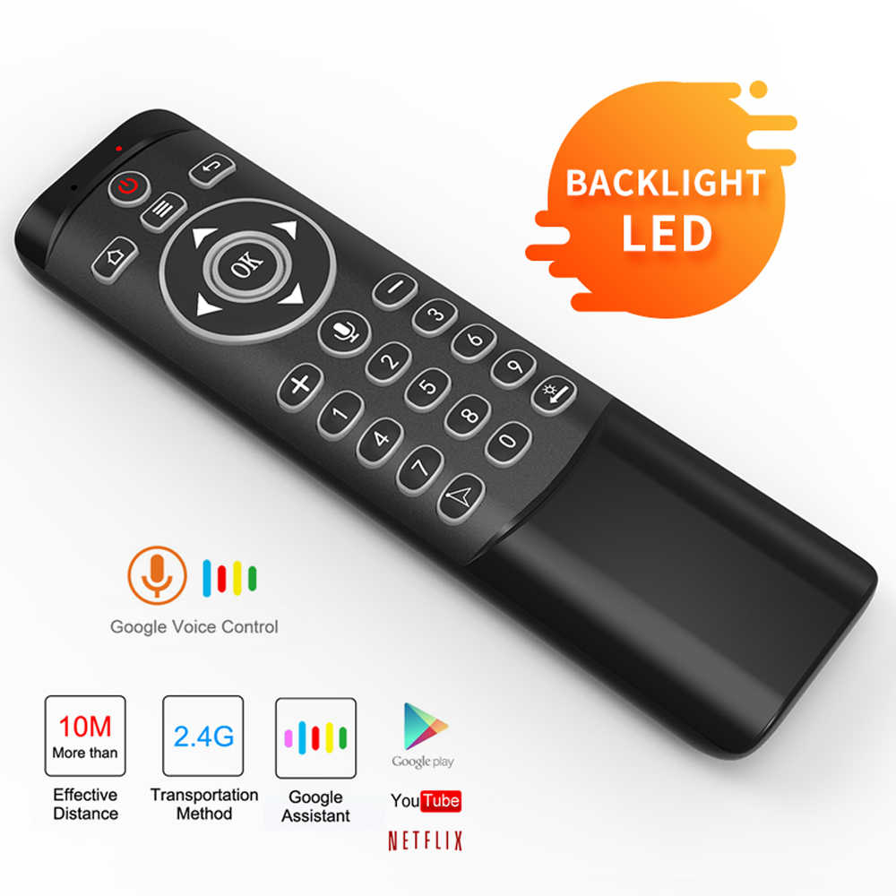 L8star voix télécommande rétro-éclairé sans fil mouche Air souris Google Microphone IR apprentissage Gyroscope 6 axes pour Android TV BOX