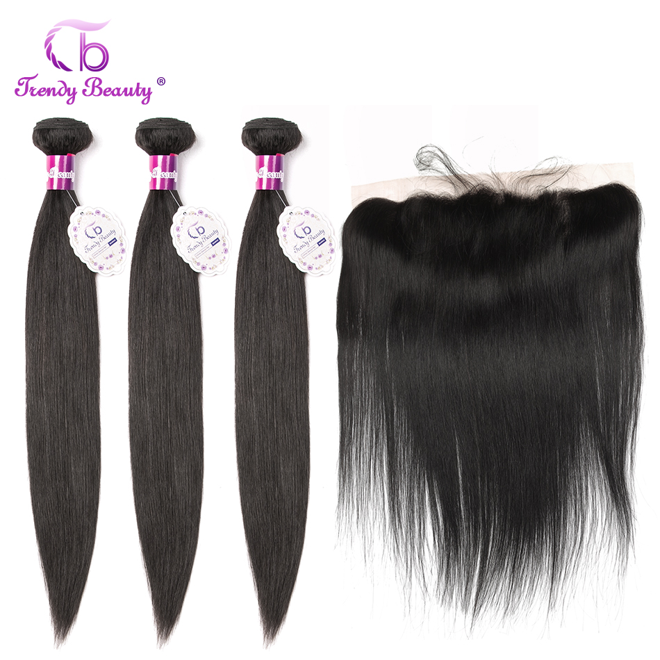 Trendy Beauty Brazilian Straight Hair 3 Bundles With Lace Frontal 8-28 Inches Natural Black Color Non-remy 100% Human Hair