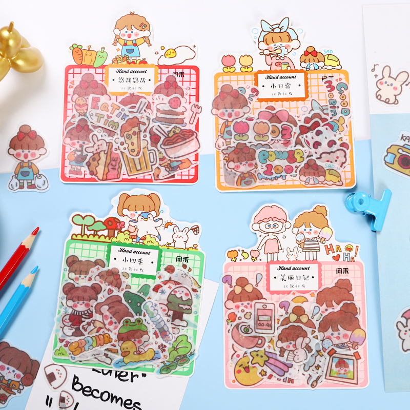40Pcs/Pack Four Seasons Children Series Colorful Sticky Stickers Decoracion Scrapbook Office Stationery School Supplies
