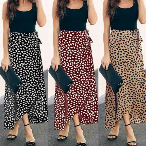 Women's Leopard Print Wrap Over Aysmmetric Skirt High Waist Long Maxi Sexy Fashion Skirt