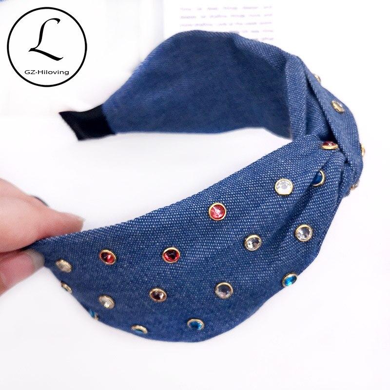New Summer Baby Girls Colorful Rhinestiones Jeans Headbands Children Kids Girls Denim Color Cotton Hairbands HairAccessories