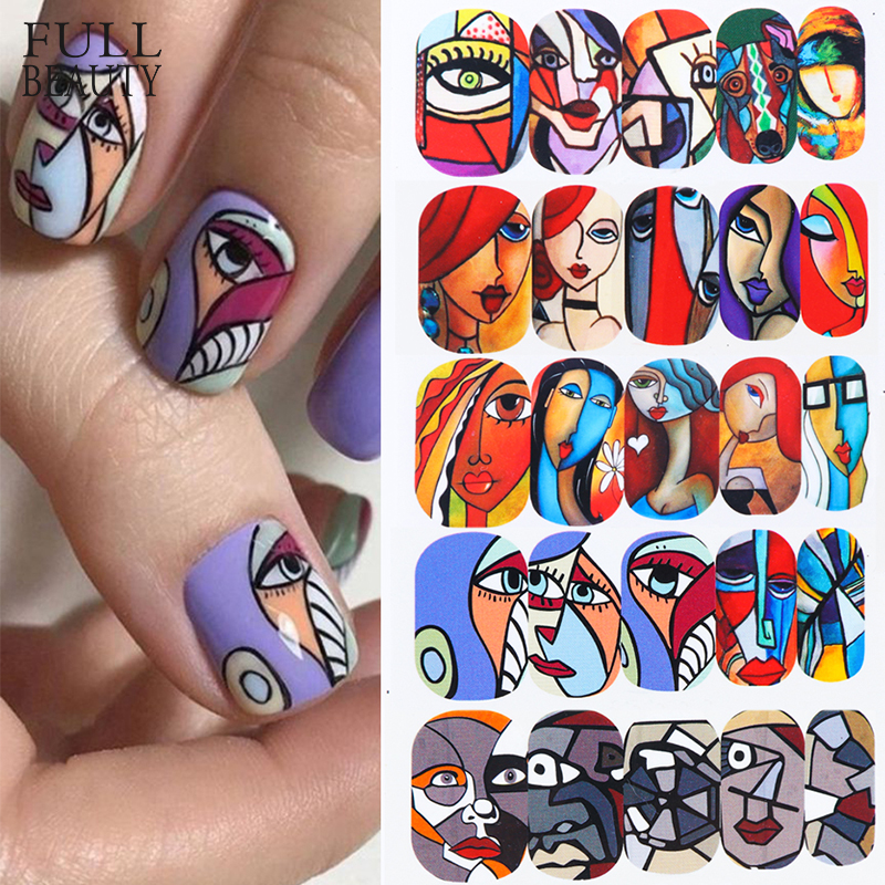 1pc Abstract Face New Design Water Nail Decals And Sticker Cool Girl Manicure Full Slider Nail Art Decorations Tips CHSTZ906-921