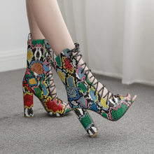 Summer Mixed Color Snake Print Women Ankle Boots Sandals High Quality PU Leather Open Toe Hollow Cross Lace-Up Shoes(China)