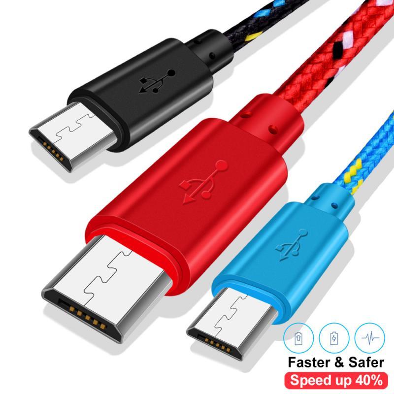 1 м 2 м USB плетеный нейлоновый кабель Micro USB быстрая зарядка мобильный телефон зарядное устройство Синхронизация данных Шнур для Huawei Xiaomi Redmi ...