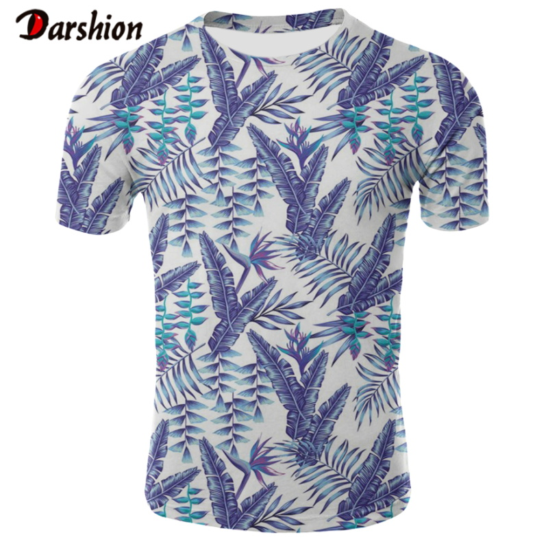 New 3D Tshirt Brand Slim Fit Short Sleeve Beach Hawaiian Style  T-shirts Banana Leaf Print Casual Holiday Party Clothing For Men