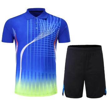 Mężczyźni kobiety dres Jersey szorty mundury oddychająca koszula Badminton stół odzież tenisowa gra zespołowa odzież sportowa odzież sportowa tanie i dobre opinie HAMEK Poliester Krótki 210+602 Anty-pilling Anti-shrink Przeciwzmarszczkowy Szybkie suche Koszule Pasuje prawda na wymiar weź swój normalny rozmiar