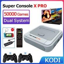 Console super retro x de wifi com 50000 jogos com controlador sem fios de 2.4g 4k consolas de jogos de vídeo da tevê hd para psp/n64/dc/nds/ps1