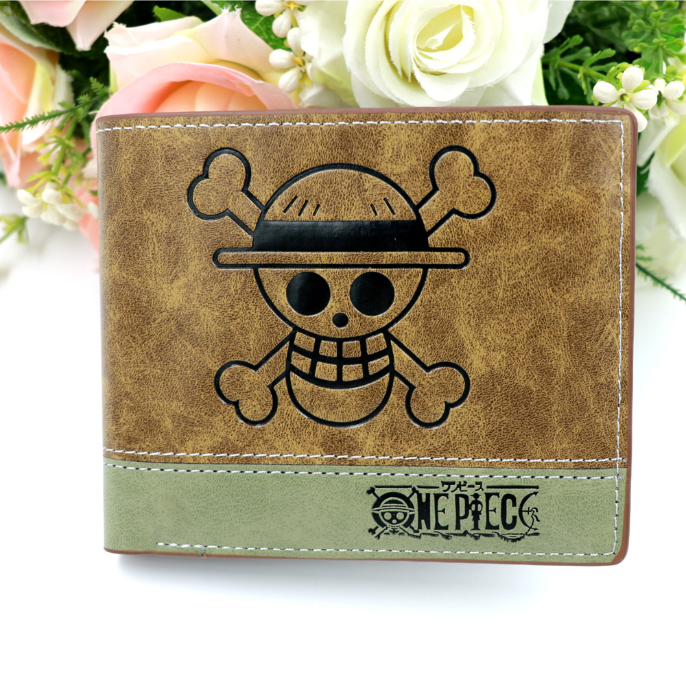Japan Anime ONE PIECE Monky D Luffy's Skull PU Leather Wallet Short Card Holder Purse