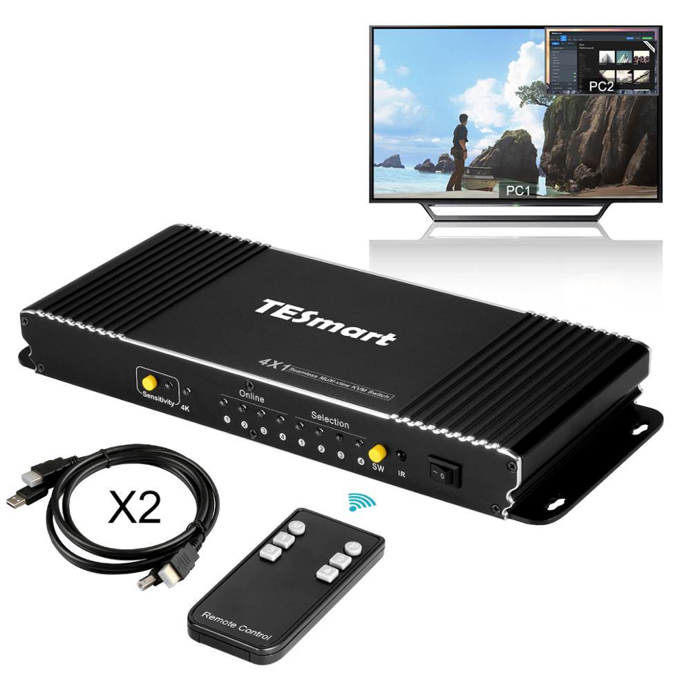 Seamless KVM Switch 4 Ports Seamless HDMI KVM Switch W/PIP HDMI Switch KVM 4X1 USB2.0 4 In 1 Out Switch KVM USB Up To4K@30Hz 3D