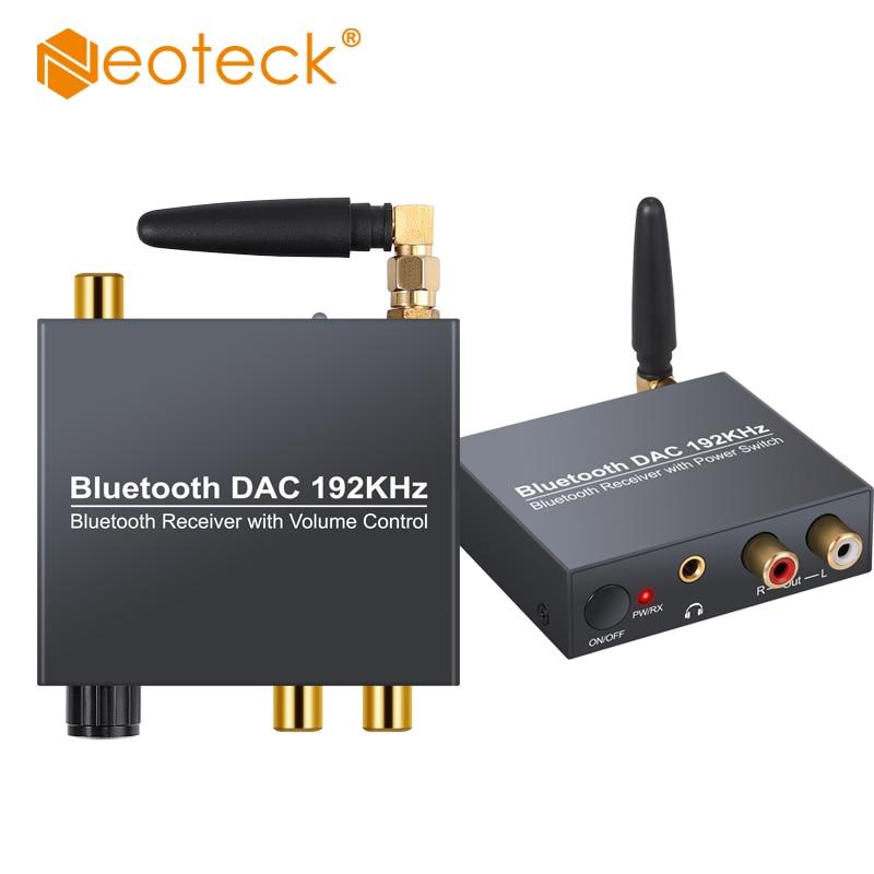 Neoteck 192 кГц Bluetooth DAC цифровой в аналоговый аудио конвертер адаптер с поддержкой регулировки громкости или включения/выключения питания DAC ...