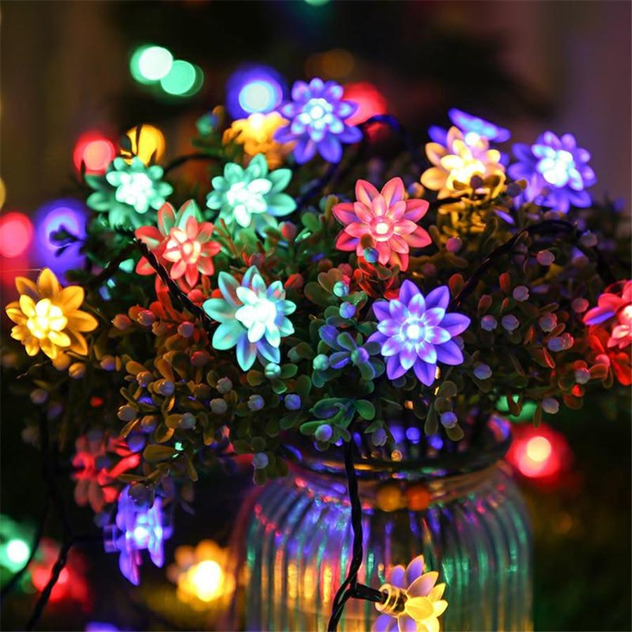Solar Street Garland Lights Solar LED Outdoors Lotus Flowers String Lights Garden Furniture And Terrace Decor With Light Sensor