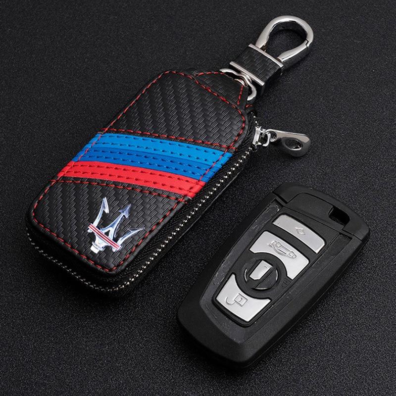 KUNBABY Top Men/Women's New Fashion Carbon Car Keys Bag Keys Chains Case Holder Leather Key Wallet For Maserati 1