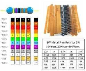 Набор металлических пленочных резисторов 1 Вт, набор резисторов 0,1r-750R 1%, 30 значений * 10 шт., упаковка резисторов с обычно сопротивлением 300 шт./...