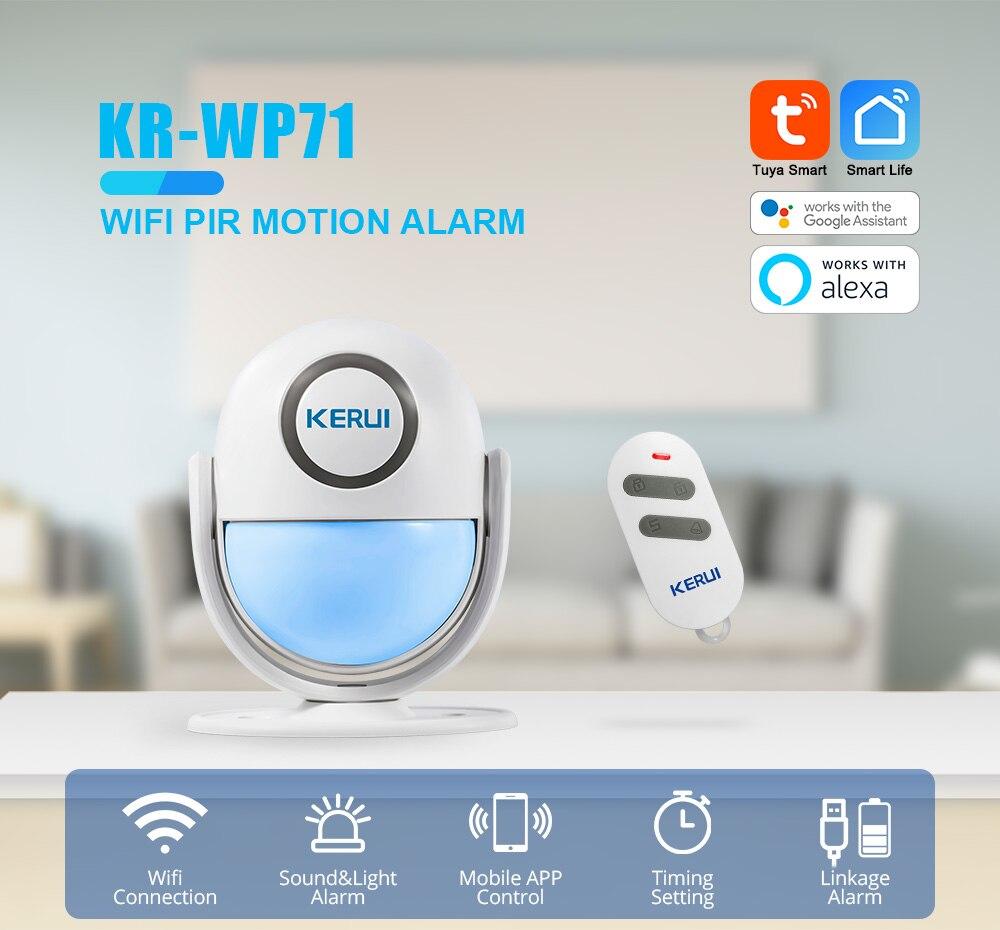 KERUI WIFI Motion Alarm System Wireless PIR Motion Sensors Tuya Smart Works with Alexa LED Flash 120dB Loud