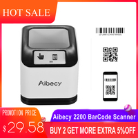 Aibecy 2200 1D/2D/QR Bar Code Scanner CMOS Image Desktop Barcode Reader USB Barcode Scanner Omnidirectional Screen