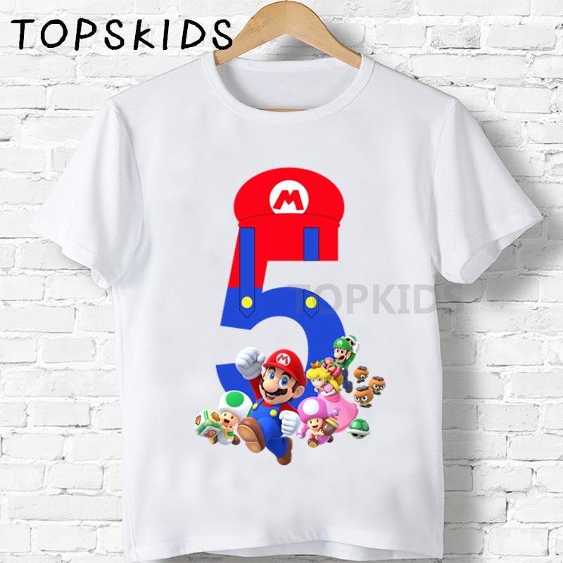Детские футболки на день рождения с мультяшным принтом Super Bros Number 1-9, забавные детские топы для мальчиков и девочек, детские футболки HKP5267, 2019