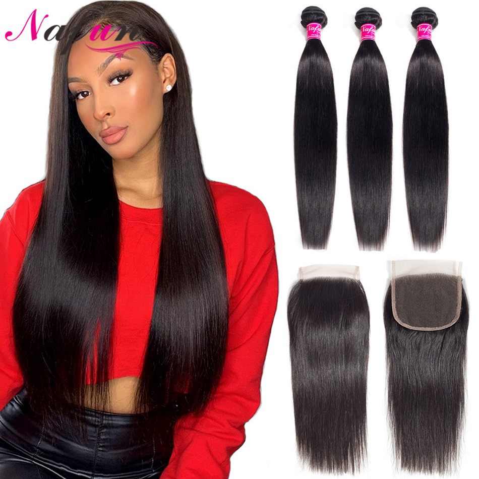 NAFUN Straight Hair Bundles With Closure Human Hair Bundles Brazilian Hair Wave Bundles With Closure Non-Remy Hair Extension