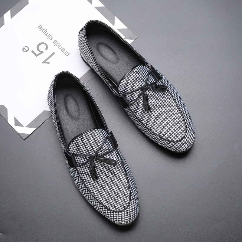 2020 New Men Fashion Canvas Business Shoes Doug Leather Pointed Toe Classic Wedding Slip-On Penny Casual Flat ShoesZH100237