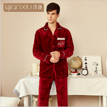 2020 Winter Men Casual Soft Pajama sets Male Warm Velvet Sleepwear sui