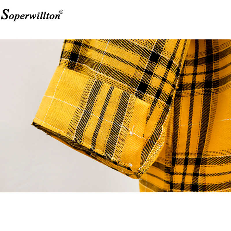 T-shirt Herfst Katoen Plaids Vrouwen Losse Blusas 2020 Hoge Kwaliteit Mode Grote Size Dames Shirts Plaid Tops Geel/Roze/Zwart